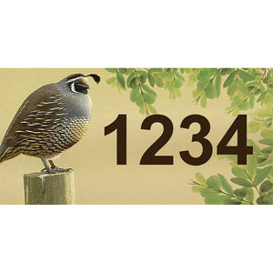 "Quail Address Plaque - 7"" x 3.5"""