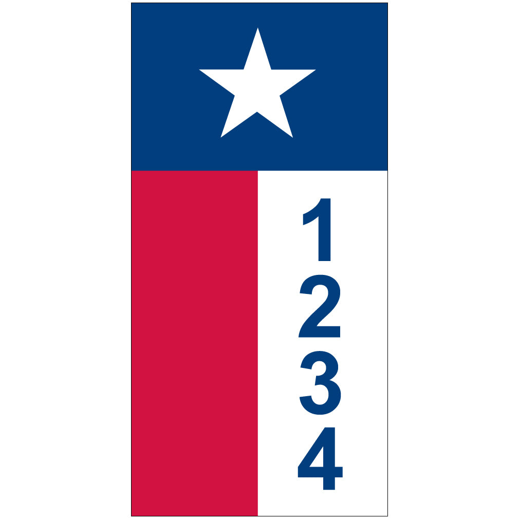 "Texas Flag Address Plaque - 3.5"" x 7"""