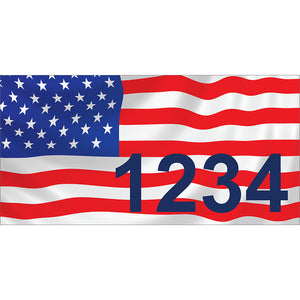 "American Flag Address Plaque: V1 - 7"" x 3.5"""