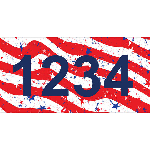 "American Flag Address Plaque: V2 - 7"" x 3.5"""