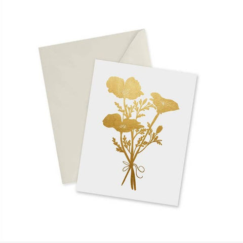 Golden Poppies Gold Foil Notecard