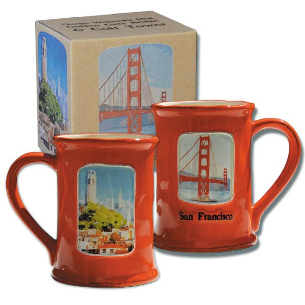 Golden Gate Bridge & Coit Tower Watercolor Mug