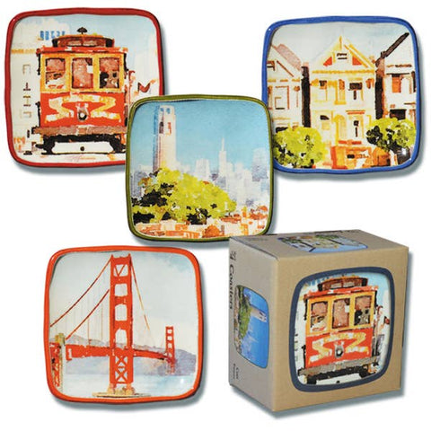 Set of 4 Watercolor Ceramic SF Coasters