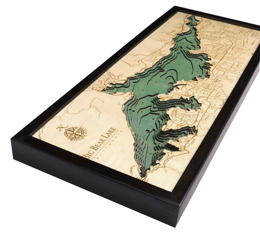 Big Bear Lake, California 3-D Nautical Wood Chart