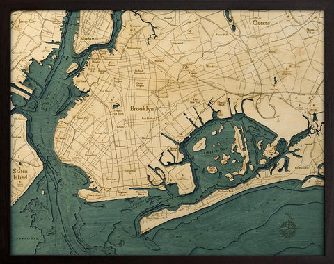 BROOKLYN, New York 3-D Nautical Wood Chart