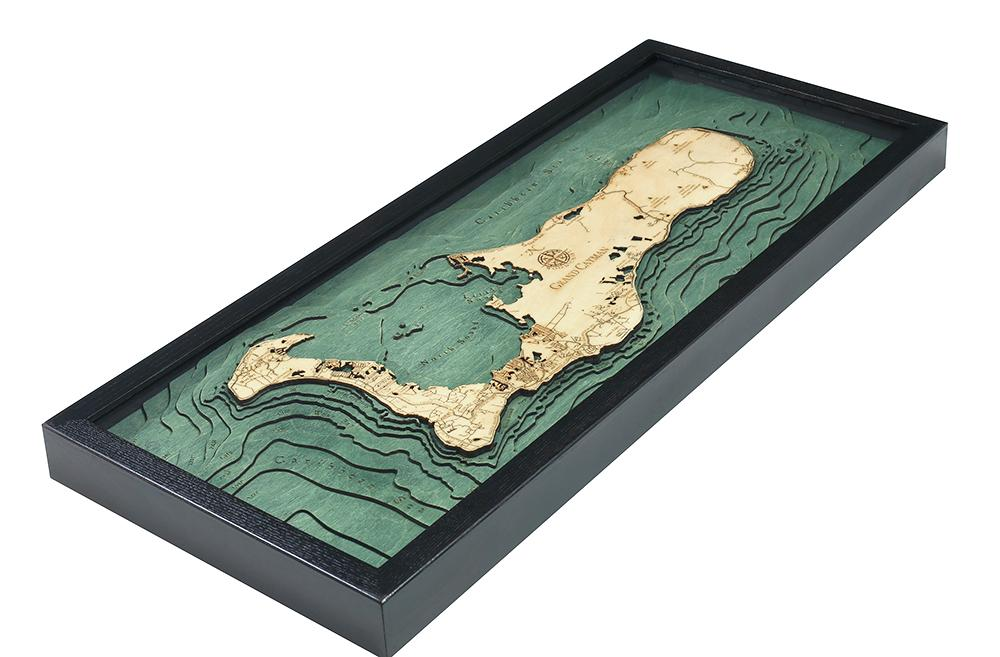 Grand Cayman 3-D Nautical Wood Chart