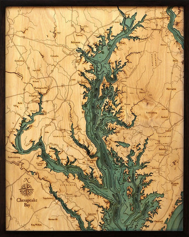 Chesapeake Bay, California 3-D Nautical Wood Chart