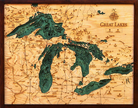 Great Lakes, California 3-D Nautical Wood Chart