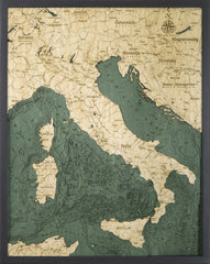 Italy, 3-D Nautical Wood Chart
