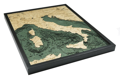 Italy, California 3-D Nautical Wood Chart