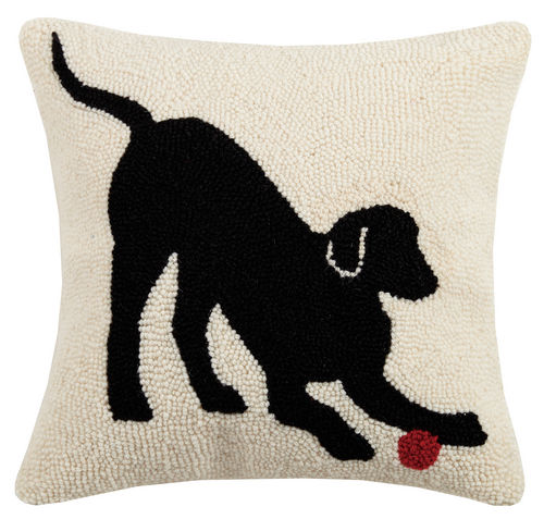PLAYFUL BLACK LAB Hook Pillow