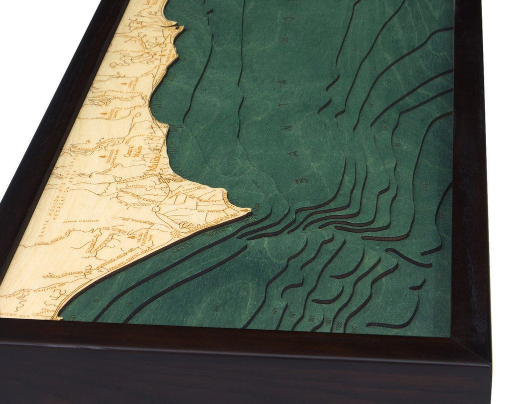 Malibu, California 3-D Nautical Wood Chart, Narrow