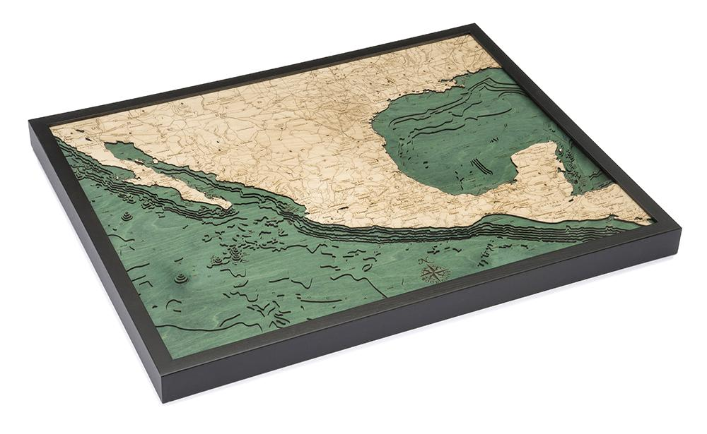 Mexico 3-D Nautical Wood Chart