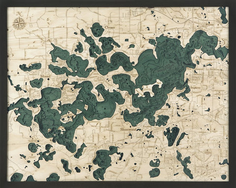 Lake Minnetonka, MN 3-D Nautical Wood Chart