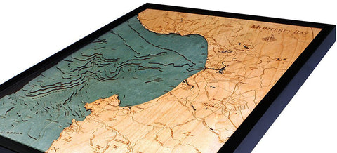 Monterey Bay, California 3-D Nautical Wood Chart, Narrow