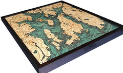 Narragansett / Newport, Rhode Island 3-D Nautical Wood Chart
