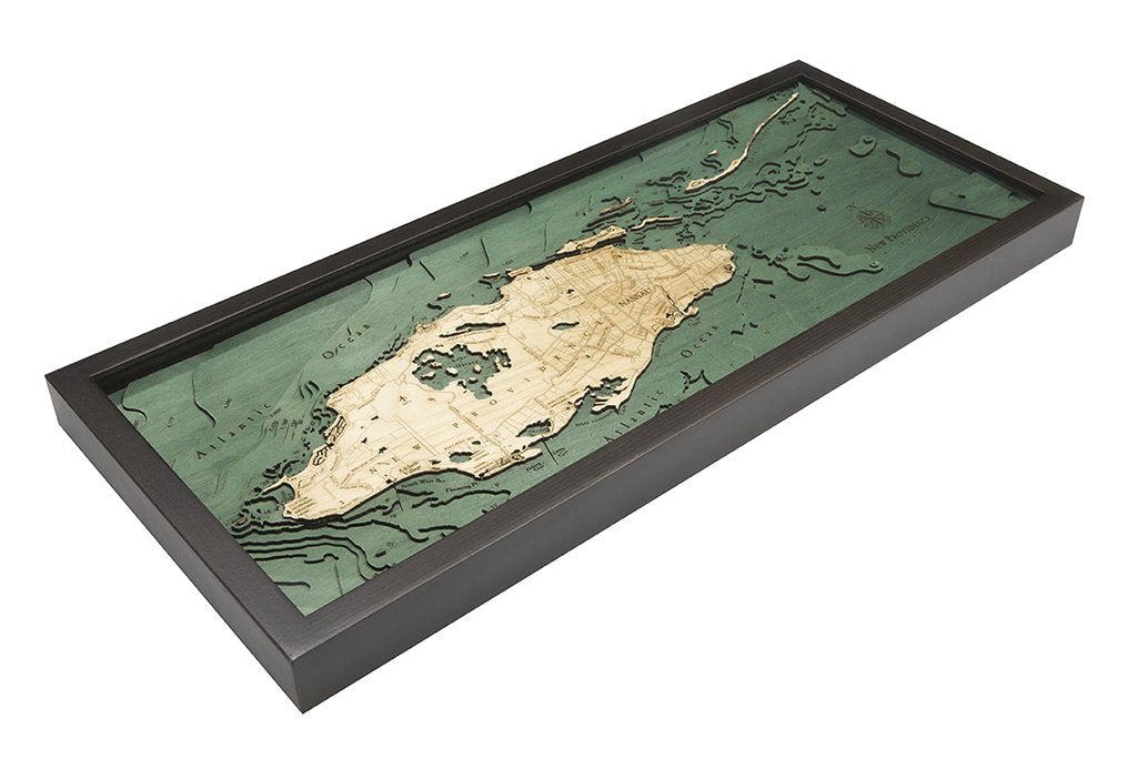 Nassau, Bahamas 3-D Nautical Wood Chart