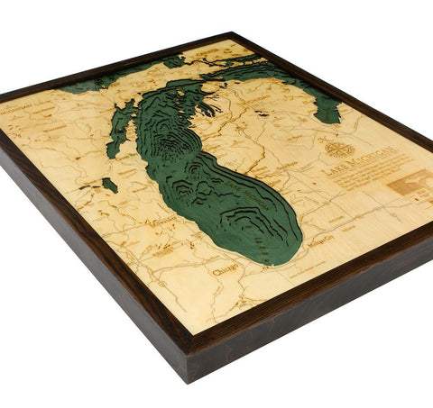 Lake Michigan, California 3-D Nautical Wood Chart