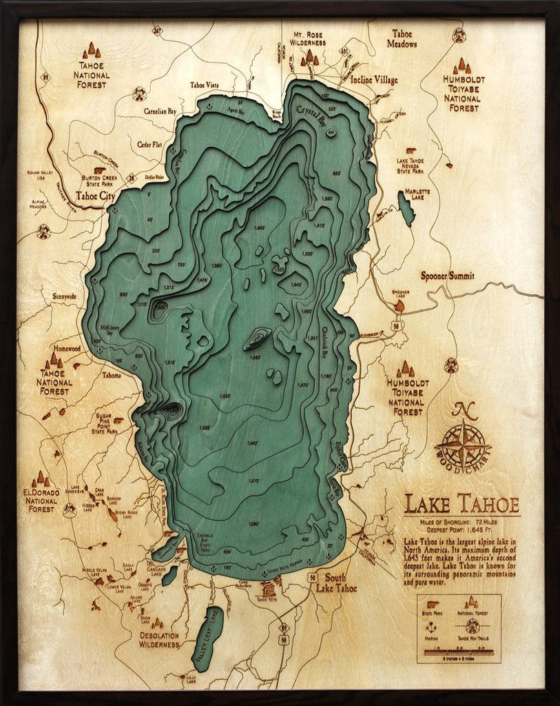 Lake Tahoe, 3-D Nautical Wood Chart