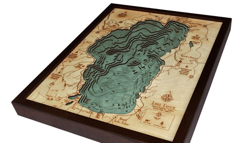Lake Tahoe, California 3-D Nautical Wood Chart