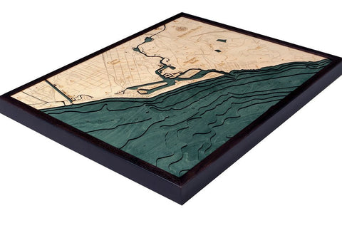Newport Beach, California 3-D Nautical Wood Chart