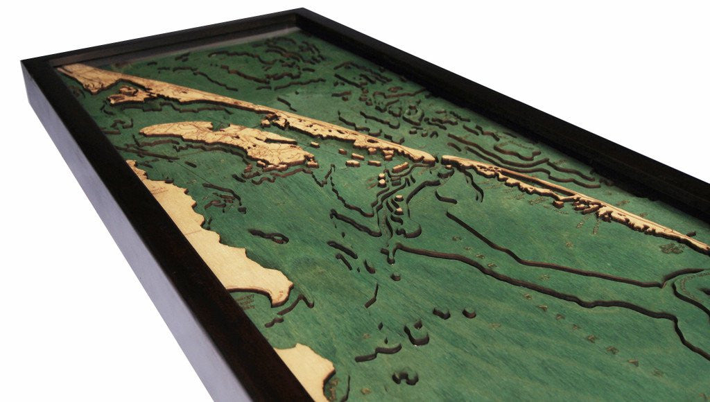 Outer Banks, California 3-D Nautical Wood Chart