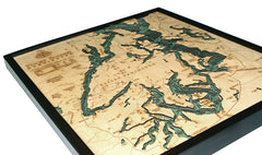 Puget Sound, California 3-D Nautical Wood Chart