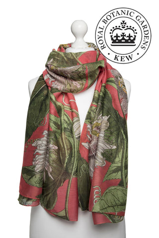 Passion Flower Coral Scarf