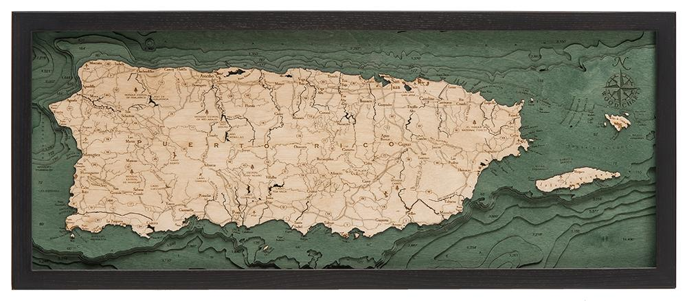 Puerto Rico 3-D Nautical Wood Chart