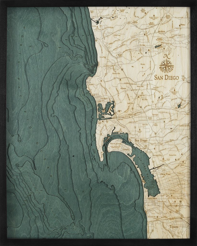 San Diego, California 3-D Nautical Wood Chart