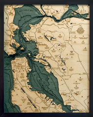 San Francisco, California 3-D Nautical Wood Chart