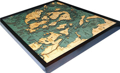 San Juan Islands, California 3-D Nautical Wood Chart