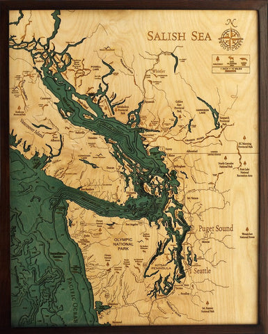 Salish Sea, California 3-D Nautical Wood Chart