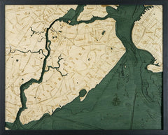 Staten Island, New York 3-D Nautical Wood Chart