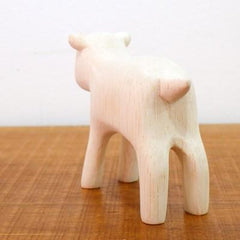 Hand Carved Wooden Baby Goat