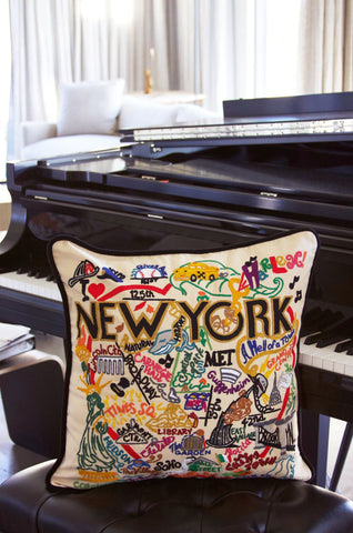 New York City Hand-Embroidered Pillow
