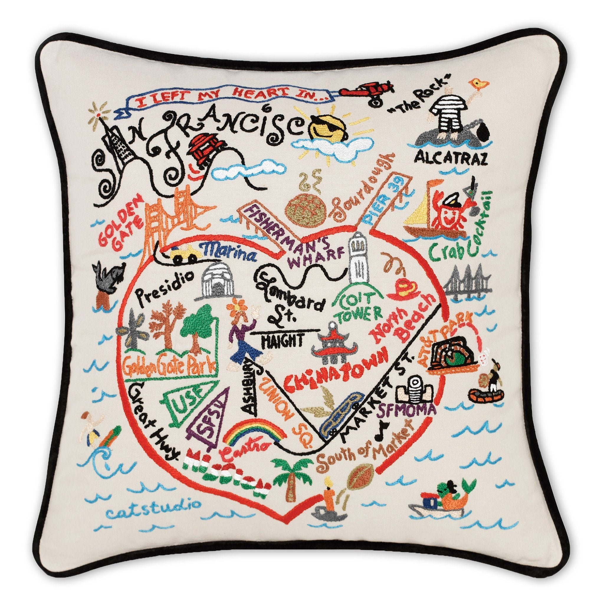 San Francisco Hand-Embroidered Pillow
