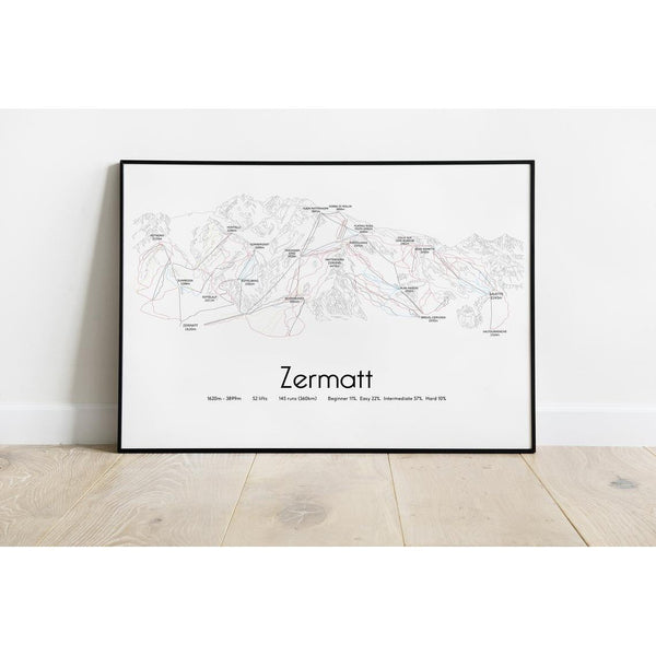 Ski Resort Piste Map Wall Prints
