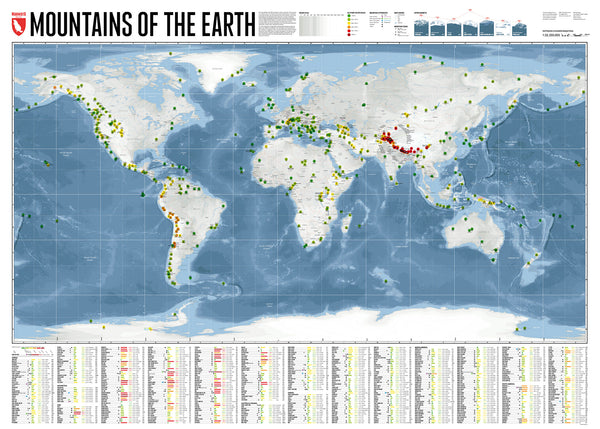 Marmota Maps Mountains of the Earth Wall Map | Backcountry Books