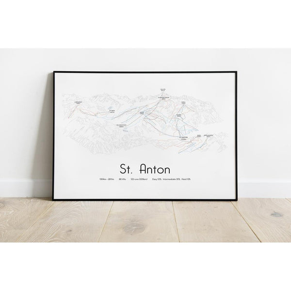 St Anton Piste Map Wall Print