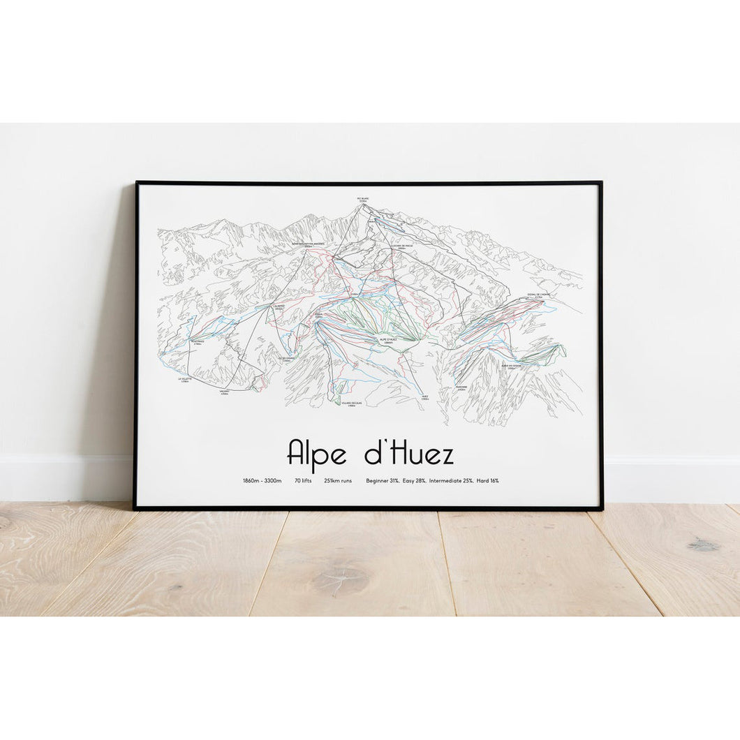 Alpe d'Huez Piste Map Wall Print | Backcountry Books