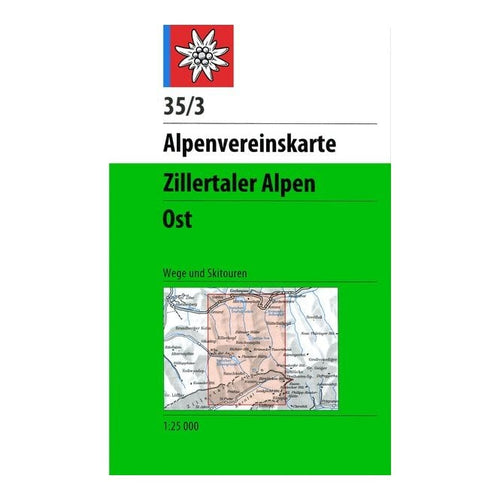Zillertal Ski Touring Map | Alpenvereinskarte 35/3 Zillertaler Alpen Ost | Backcountry Books