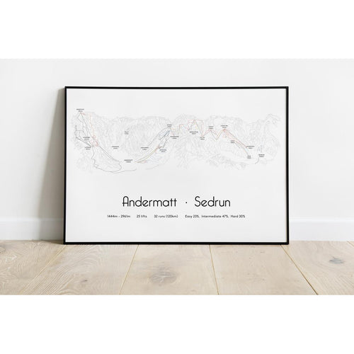 Andermatt Sedrun Piste Map Wall Print Poster | Backcountry Books