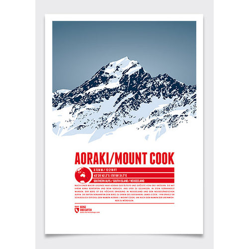 Aoraki / Mount Cook Wall Print Marmota Maps | Backcountry Books