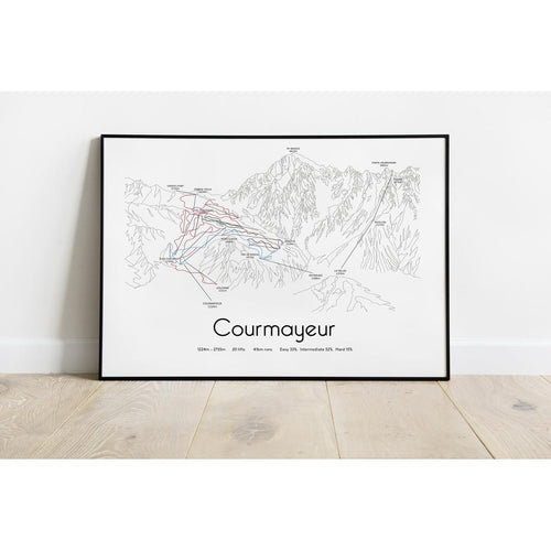 Courmayeur Piste Map Wall Print Poster | Backcountry Books