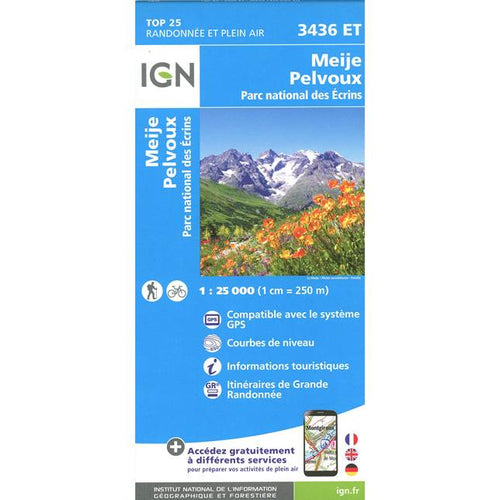 Ecrins Map IGN 3436 OT Meije, Pelvoux, Parc National des Ecrins | Backcountry books