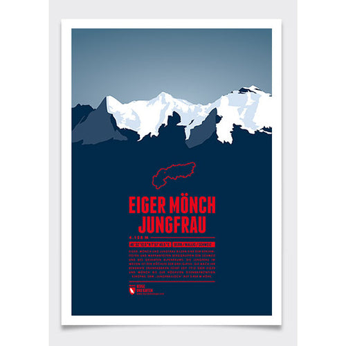 Eiger, Mönch, and Jungfrau Wall Print | Marmota Maps | Backcountry Books
