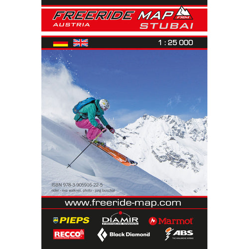 Freeride Map Stubai | Off Piste Skiing Map Stubai | Backcountry Books