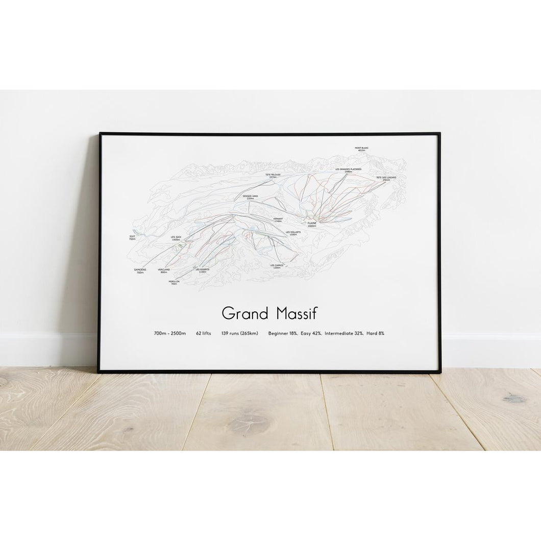 Grand Massif Piste Map Wall Print | Backcountry Books