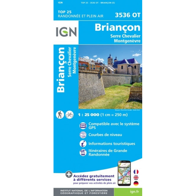 Ecrins Map IGN 3536 OT Briancon, Serre Chevalier, Montgenevre | Backcountry Books